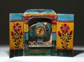 20th C. Peruvian Painted Wood Retablo, Ex-historia