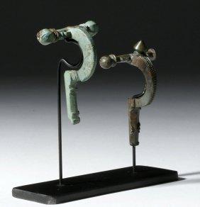 Pair Of Roman Bronze Military Cross-bow Fibulae