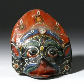 Colorful Vintage Indonesian Papier Mache Mask Of Deity
