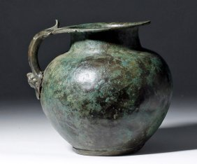 Superb Roman Bronze Pitcher, Human Face Handle