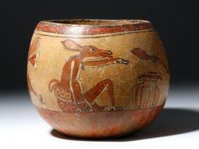 Superb Mayan Polychrome Olla - Rabbit, Monkeys, Deer