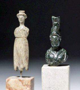 Roman Bronze Bust Of Athena + Roman Lead Doll