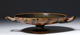 Greek Attic Black Figure Stemmed Kylix - Figures
