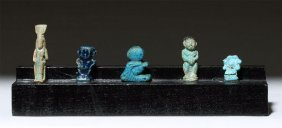 5 Ancient Egyptian Faience Amulets - Rare Set!