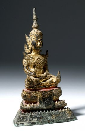 Gorgeous Thai Bronze Gilded & Painted Budda