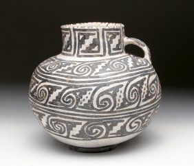 Anasazi Pottery Black On White Pitcher