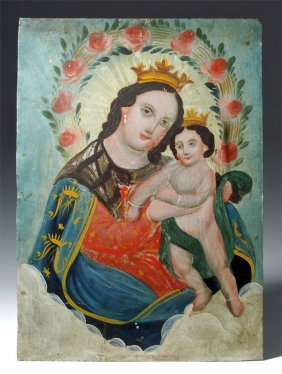 Mexican Ptd Tin Retablo - Our Lady, Refuge Of Sinners