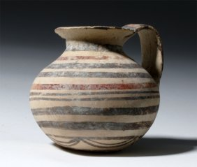 Fine Polychrome Daunian Terracotta Strainer Vessel