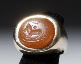 Sassanian Carnelian Intaglio In 14kt Men's Ring