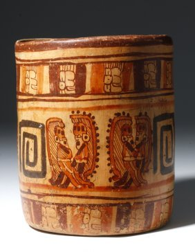 Mayan Ulua Valley Pottery Polychrome Cylinder
