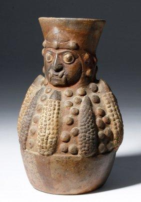Moche Pottery Jar - Ai Apec as Corn God