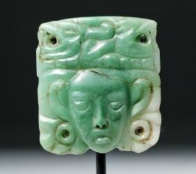 Superb Mayan Apple Green Jade Plaque