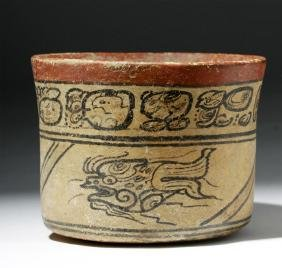 Important Mayan Codex Squat Cylinder W/ Fish