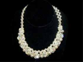 Faux Pearl And Iridescent Choker