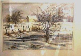 B. MacLellan, Watercolor, Winter View
