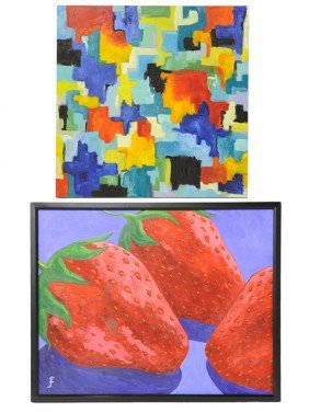 A COLLECTION OF TWO COLORFUL ACRYLIC PAINTINGS ON C