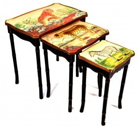 A SET OF PAINTED NESTING TABLES, WITH FAUX BAMBOO LE