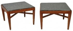 PAIR OF CONTEMPORARY CHERRY SQUARE END TABLE WITH GR