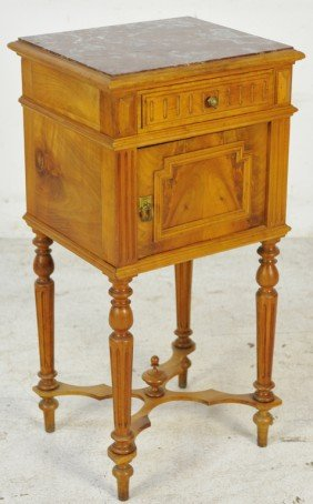 HENRI II STYLE WALNUT NIGHTSTAND WITH MARBLE TOP
