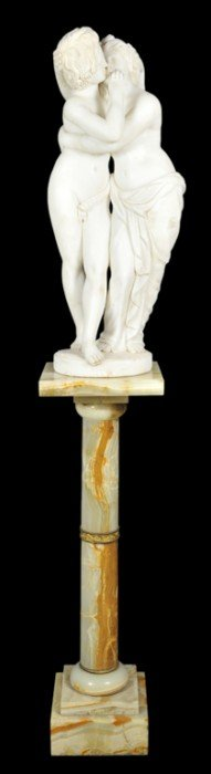 A HAND-CARVED ITALIAN WHITE CARRARA MARBLE STATUE O