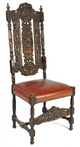 AN ENGLISH RENAISSANCE STYLE HIGH BACK CHAIR WITH IN
