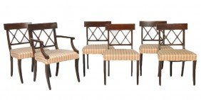 SET OF SIX MID CENTURY REGENCY STYLE CHAIRS OF MAHO