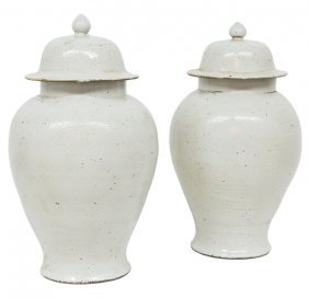 A PAIR OF LARGE CHINESE WHITE TIN-GLAZED CERAMIC L