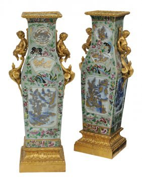 A PAIR OF BRONZE DOR� MOUNTED CHINESE DECORATED PO