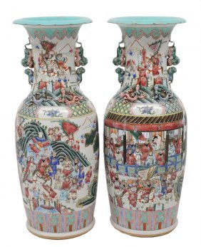 A PAIR OF VERY LARGE CHINESE DECORATED CERAMIC VAS