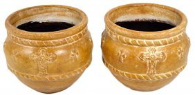 A PAIR OF DECORATED TERRA COTTA GARDEN POTS