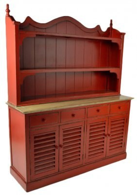 A RED ENAMEL COUNTRY STYLE BUFFET