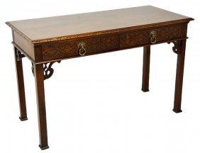 A CHINESE CHIPPENDALE STYLE MAHOGANY CONSOLE BY BAK
