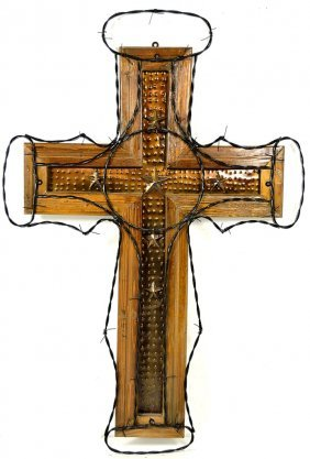 LARGE IRON AND WOOD CROSS