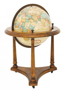 A VINTAGE TERRESTRIAL GLOBE ON STAND