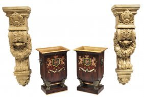 A PAIR OF TOLE PLANTERS AND A PAIR OF WALL BRACKET