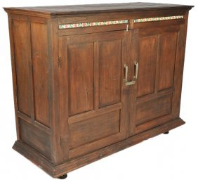 A LARGE ANTIQUE BUFFET CABINET OF SOLID TEAK