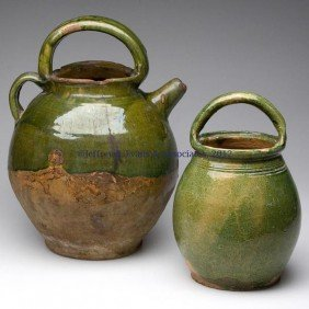 TWO EARTHENWARE DOMESTIC ARTICLES