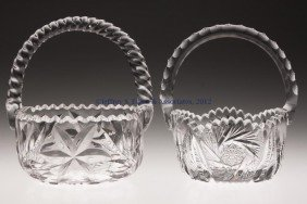 FRY AND OTHER CUT GLASS BASKETS, LOT OF TWO