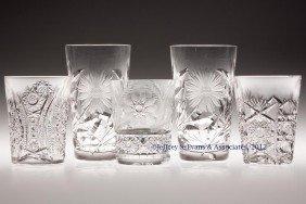FRY CUT GLASS TUMBLERS, LOT OF FIVE