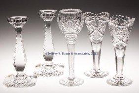 FRY CUT GLASS ARTICLES, LOT OF FIVE