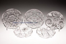 FRY AND OTHER CUT GLASS NAPPIES, LOT OF FIVE