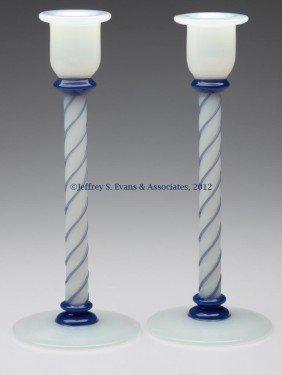 FRY ART GLASS #1103 CANDLESTICKS