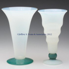 FRY ART GLASS VASES, LOT OF TWO