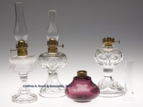 VARIOUS PATTERN MINIATURE LAMPS, LOT OF FOUR