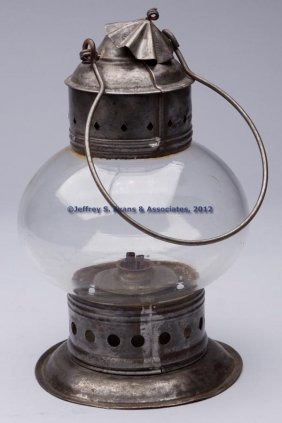 NEW ENGLAND GLASS CO. SHEET IRON WHALE OIL LANTERN