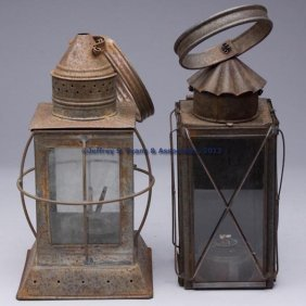 SHEET IRON LANTERNS, LOT OF TWO