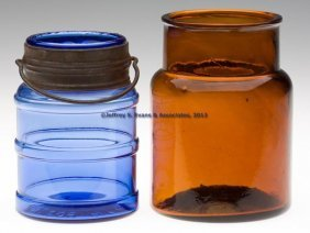 TWO BLOWN-MOLDED FOOD JARS