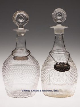 ASSORTED BLOWN-MOLDED QUART DECANTERS, LOT OF TWO