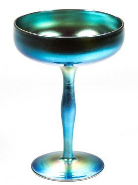 Steuben Blue Aurene Compote