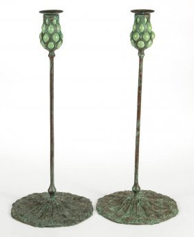 Tiffany-style Queen Anne's Lace Pair Of Candlesticks